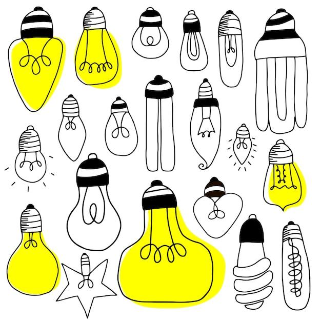 Grande conjunto de lâmpadas Vetor Premium