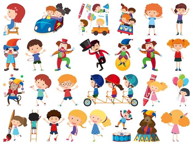Grande conjunto de objetos isolados de crianças e circo Vetor Premium