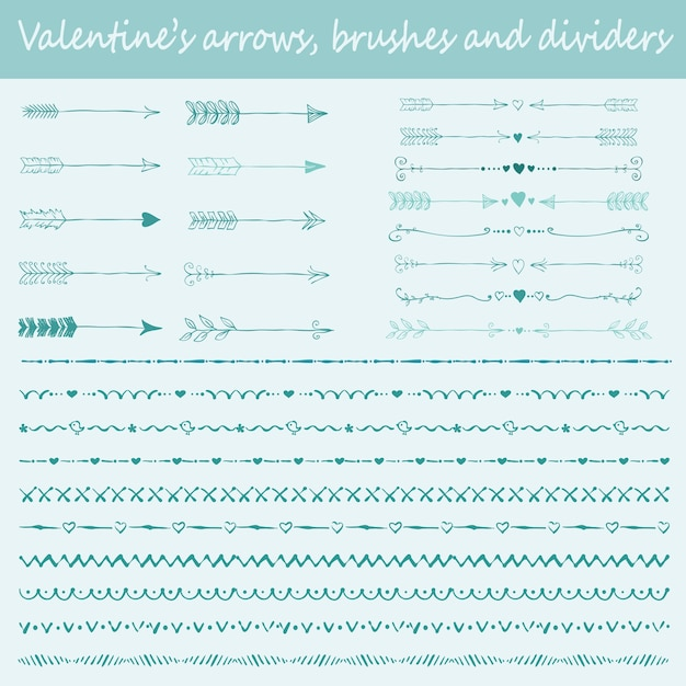 Grande conjunto de pincéis desenhados à mão dos namorados, setas e divisores de texto para design de cartões comemorativos Vetor Premium
