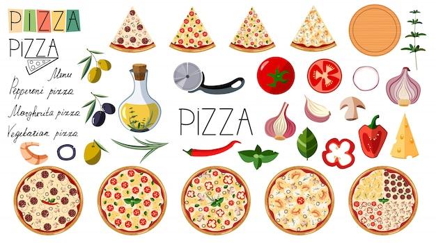 Grande conjunto de pizza. ingredientes diferentes tradicionais. pizza de logotipo. pizza italiana inteira com fatias: margarita, frutos do mar, vegetariano, calabresa. Vetor Premium
