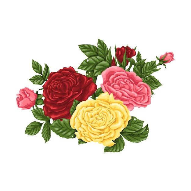 Grande Conjunto De Rosas Cor De Rosa Amarelas E Vermelhas Buquês