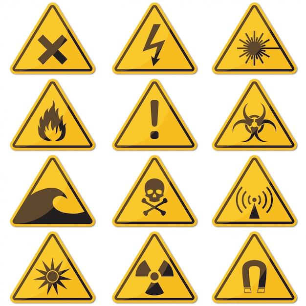 Grande conjunto de sinal de perigo amarelo com sombra Vetor Premium
