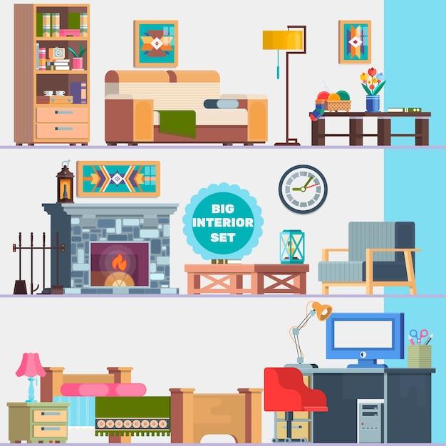 Grande conjunto detalhado de interiores mob lia dom stica for Mobilia domestica