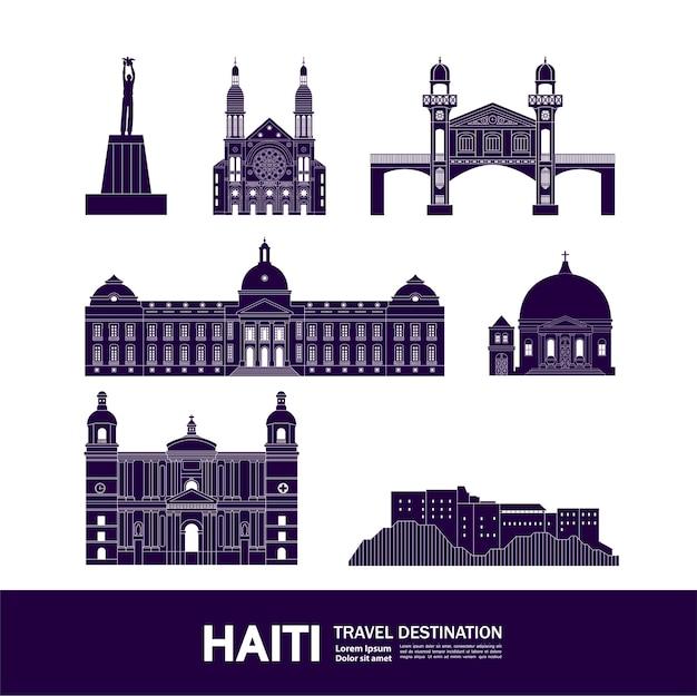 Grande destino de viagem ao haiti Vetor Premium