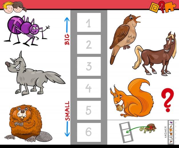 Grande e pequeno animal cartoon jogo de atividade Vetor Premium