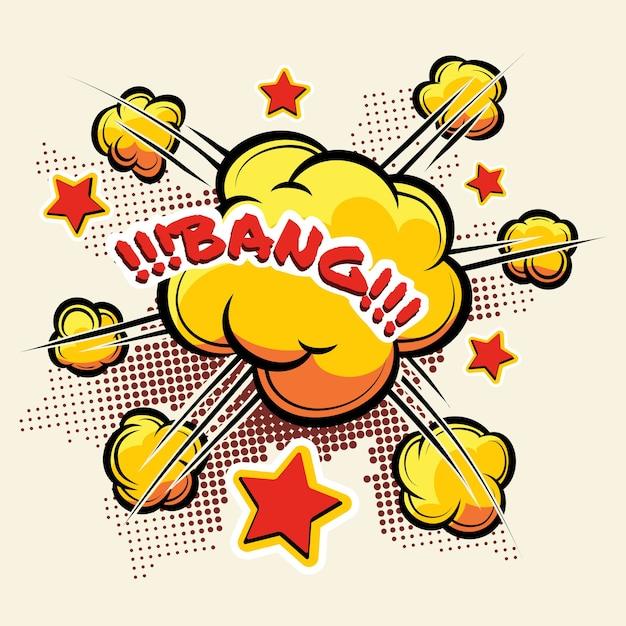 Grande explosão de desenhos animados para histórias em quadrinhos. laranja de explosão de nuvem. ilustração vetorial Vetor grátis