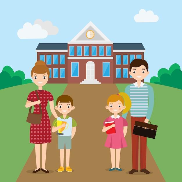 Grande família feliz na frente do prédio da escola Vetor Premium