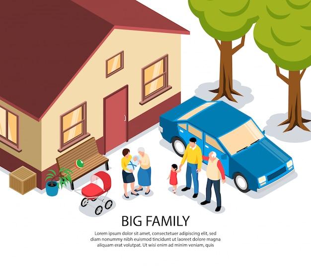 Grande família isométrica com vovó e vovô parabenizando jovens pais com recém-nascido perto de sua casa Vetor grátis