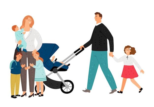 Grande família. mãe plana, pai, filhas e filhos. personagens de vetor de família feliz Vetor Premium