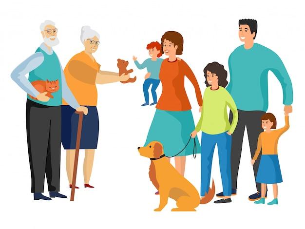 Grande família. pai e mãe, avó e avô, filhos e animais de estimação. Vetor Premium