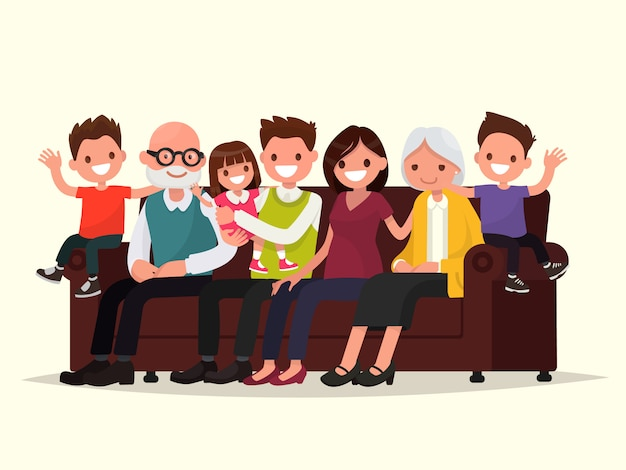 Grande família sentada no sofá. avô, avó, pai, mãe e filhos. Vetor Premium