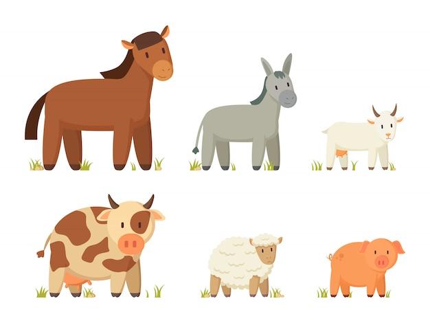 Grande, fazenda, animais, ilustração Vetor Premium