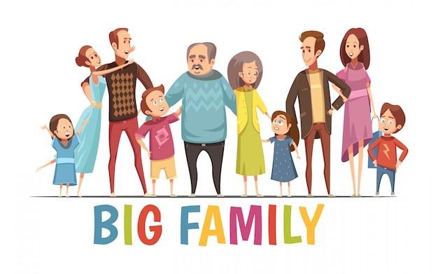 Grande, feliz, harmonioso, retrato familiar, com, avós, dois, jovem, pares, e, pequeno, crianças, caricatura, vetorial, ilustração Vetor grátis