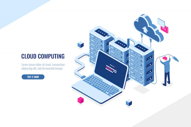 Grande fonte de dados, centro de dados, computação em nuvem e conceito isométrico de armazenamento em nuvem, rack de sala de servidor Vetor grátis