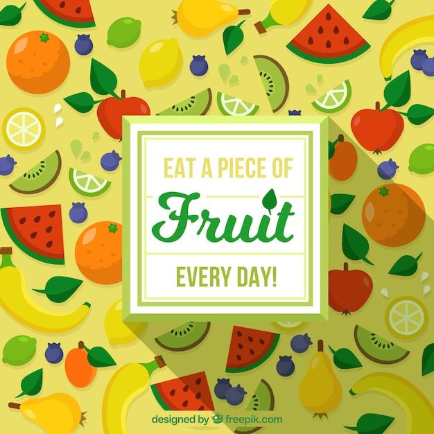 Grande, fundo, colorido, frutas, apartamento, desenho Vetor grátis