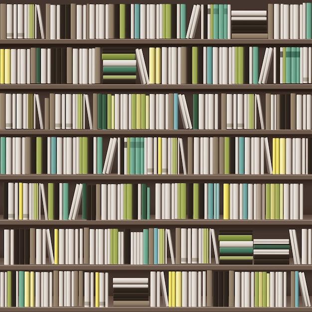 Grande fundo de estante de biblioteca de vetor cheio de diferentes livros brancos, amarelos, verdes e marrons Vetor grátis