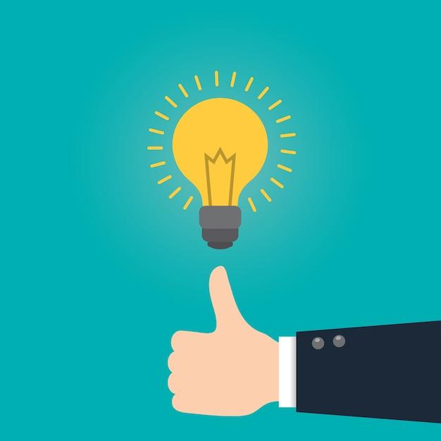 Grande ideia ideia conceito de negócio com lâmpada. Vetor Premium