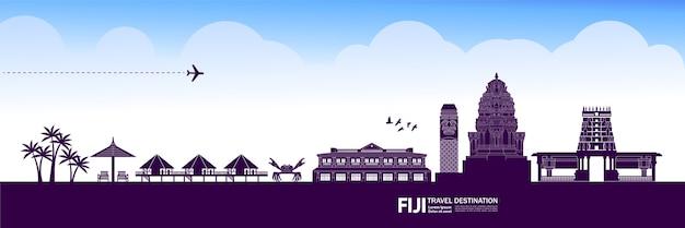Grande ilustração de destino de viagem fiji. Vetor Premium