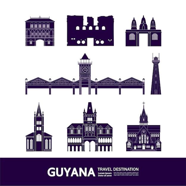 Grande ilustração do destino da viagem da guiana. Vetor Premium