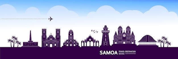 Grande ilustração do destino de viagem de samoa. Vetor Premium