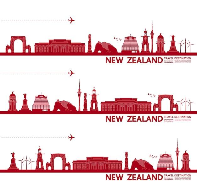 Grande ilustração do destino de viagens da nova zelândia. Vetor Premium