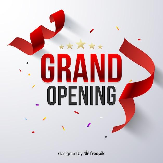 Grande inauguração realista com confete Vetor grátis