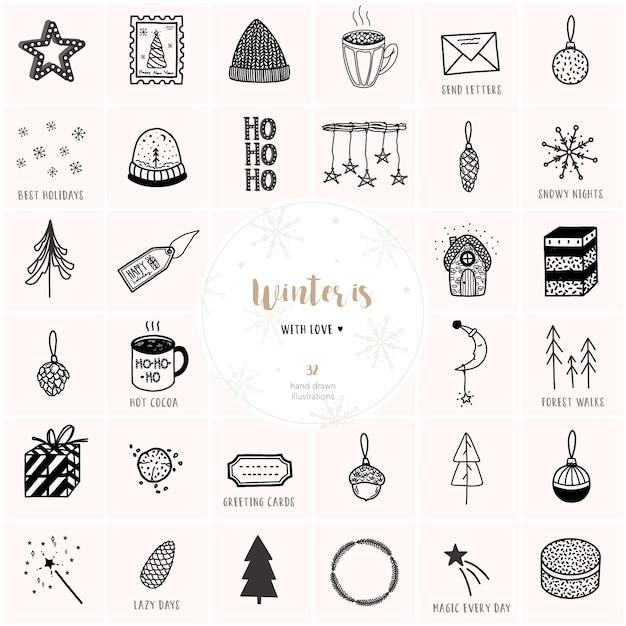 Grande mão desenhada natal e ano novo conjunto de vetores. Vetor Premium