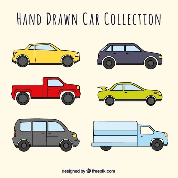 Grande pacote de seis carros desenhados à mão Vetor grátis