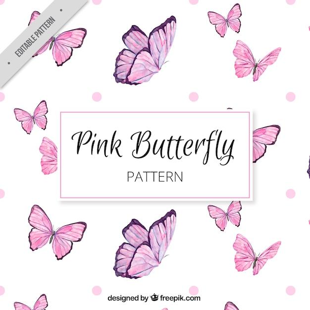 Grande padrão de borboletas cor de rosa Vetor Premium