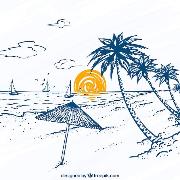 Grande, praia, vista, palma, árvores, veleiros Vetor grátis