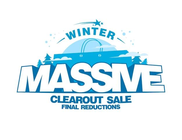 Grande projeto de liquidação de inverno com grande sacola de compras Vetor Premium