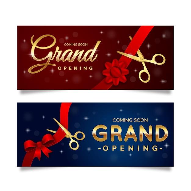 Grande re-abertura banner com tesoura e arco Vetor Premium