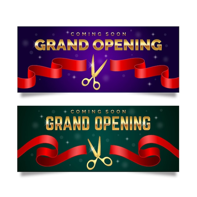 Grande re-abertura banner com tesoura e fita Vetor Premium