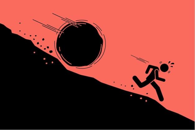 Grande rocha ou pedregulho rolando sobre um homem da encosta íngreme de uma colina de montanha. Vetor Premium