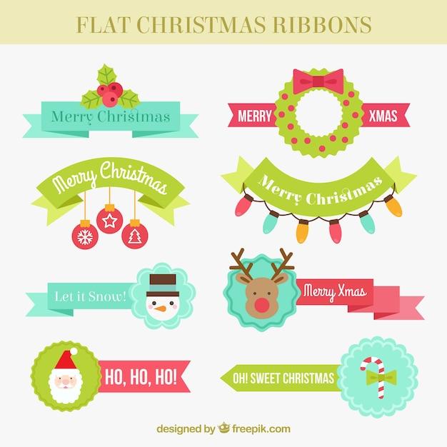 Grande seleção de fitas do natal no estilo plana Vetor grátis