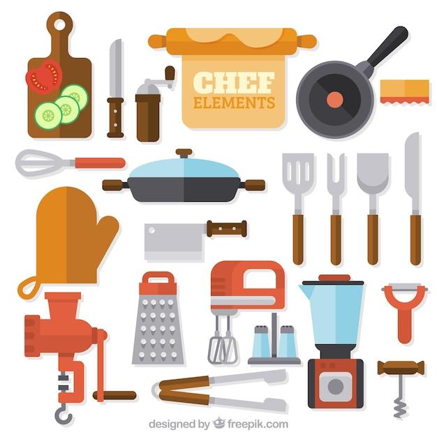 Grande variedade de itens de cozinha plana Vetor grátis