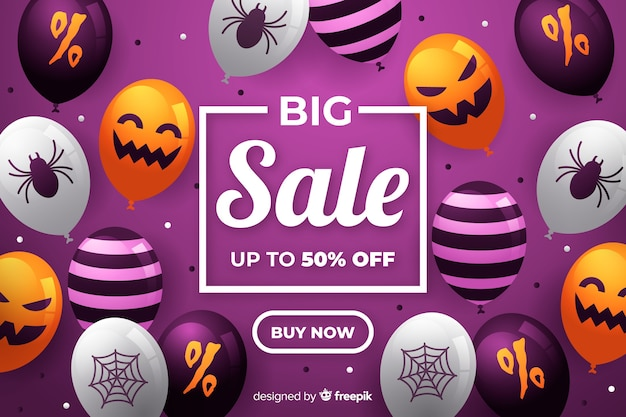 Grande venda de halloween com balões assustadores Vetor grátis