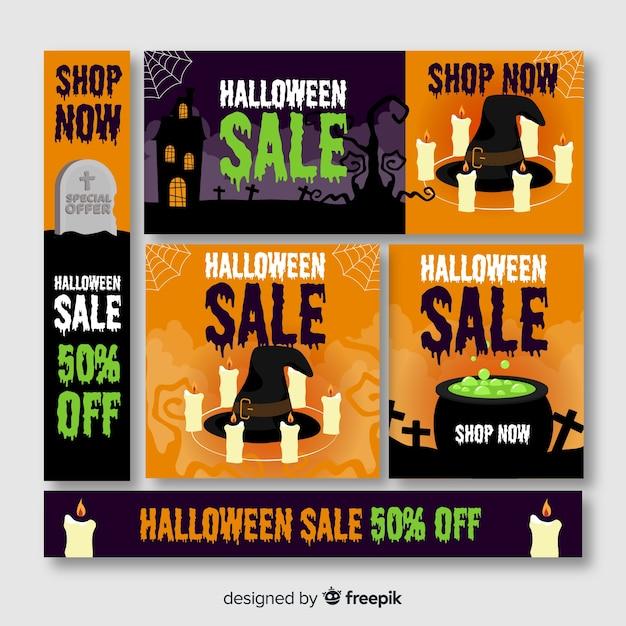 Grande venda de halloween oferece web banner Vetor grátis