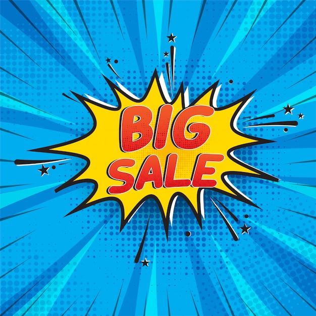 Grande venda em estilo cômico Vetor Premium