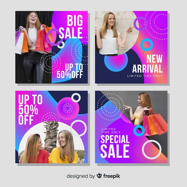 Grande venda instagram post coleção com foto Vetor grátis