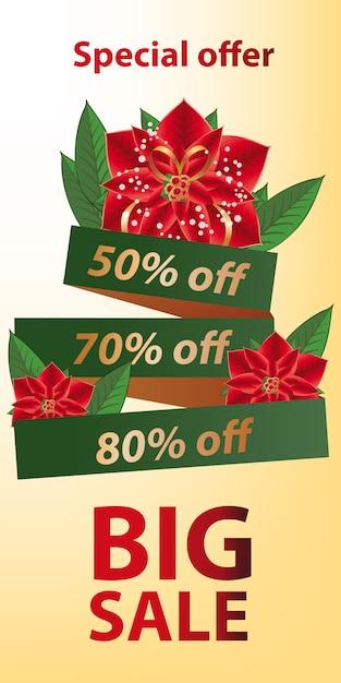 Grande venda oferta especial banner design. fita verde Vetor grátis