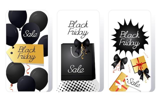 Grande venda oferta especial de sexta-feira negra promoção marketing conceito de compras de feriado telas de smartphone definidas aplicativo móvel online Vetor Premium