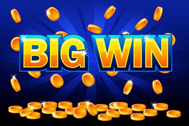 Grande vitória e moedas de ouro caindo do topo Vetor Premium