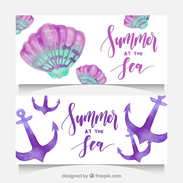 Grandes bandeiras do verão com seashells e âncoras no estilo da aguarela Vetor grátis