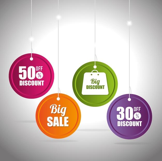 Grandes descontos de venda e ofertas de compras Vetor Premium