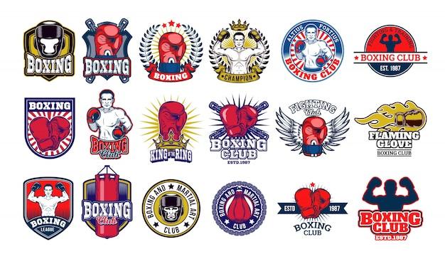 Grandes emblemas de boxe, adesivos isolados no branco. Vetor grátis