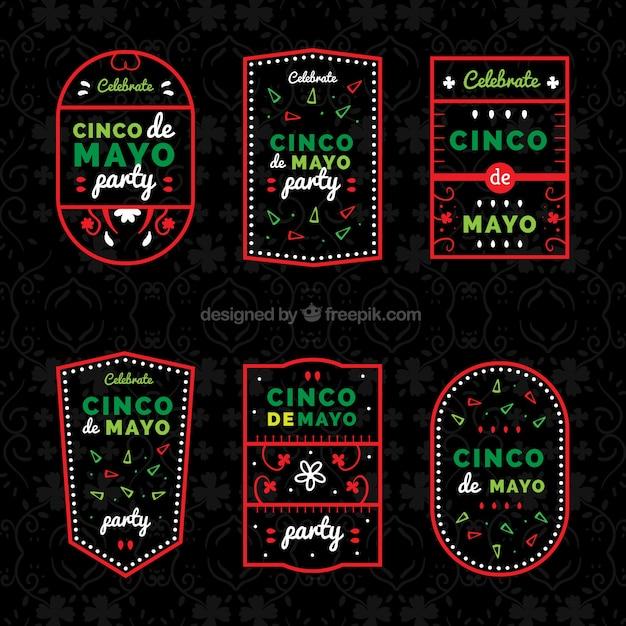 Grandes etiquetas de cinco de mayo com quadro vermelho Vetor grátis