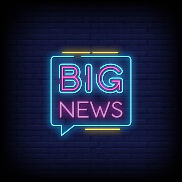 Grandes notícias sinais de néon estilo texto Vetor Premium