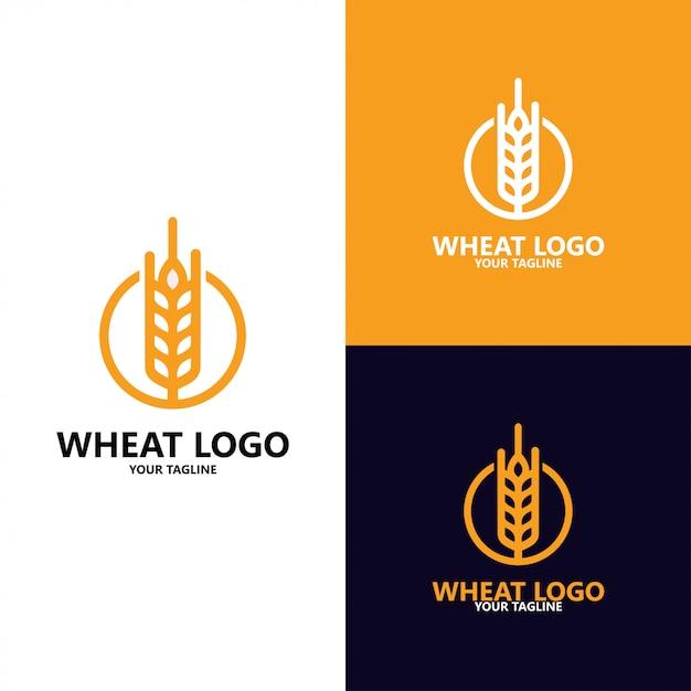 Grão de luxo, agricultura trigo grão logo template vector ícone do design Vetor Premium