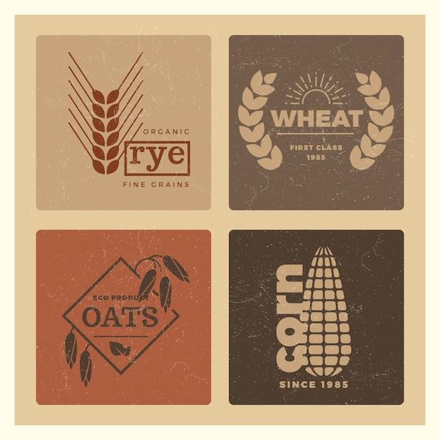Grão de trigo orgânico agricultura conjunto de logotipo de agricultura Vetor Premium